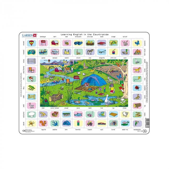 Puzzle maxi Hai sa invatam engleza la tara, orientare tip vedere,  70 de piese, Larsen [0]
