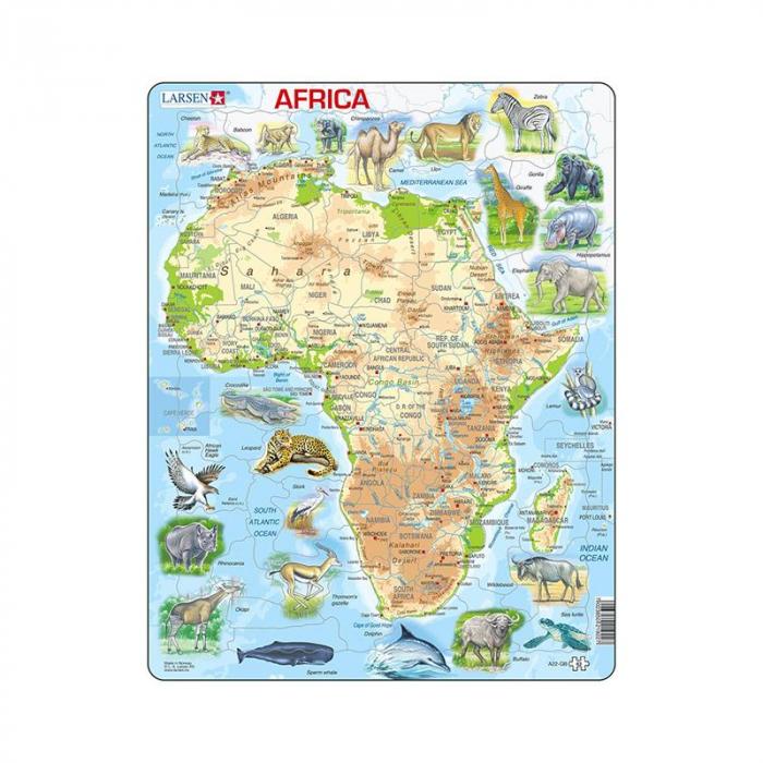 Puzzle maxi Harta Africii cu animale, orientare tip portret, 63 de piese, Larsen [0]