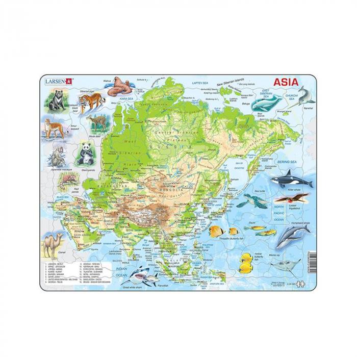 Puzzle maxi Harta Asiei cu animale, orientare tip vedere, 63 de piese, Larsen [0]