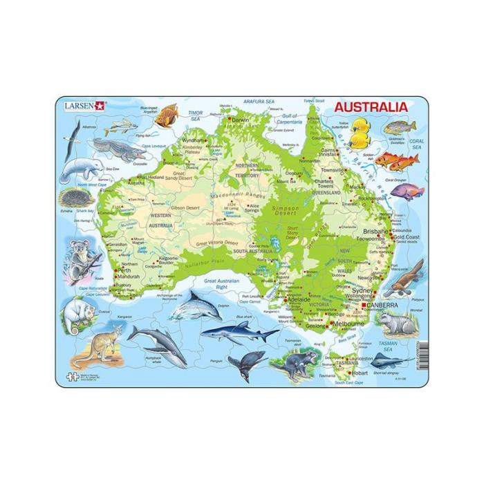 Puzzle maxi Harta Australiei cu animale, orientare tip vedere, 65 de piese, Larsen [0]