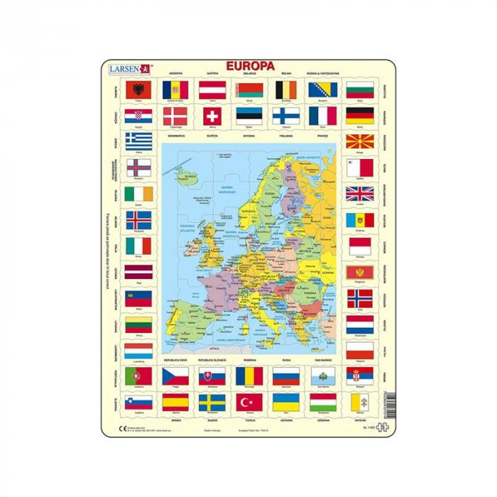 Puzzle maxi Harta Europei si steagurile tarilor din Europa, orientare tip portret, 70 de piese, Larsen, romana [0]