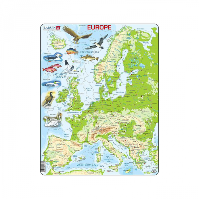 Puzzle maxi Harta fizica a Europei, orientare tip portret, 87 piese, Larsen [0]