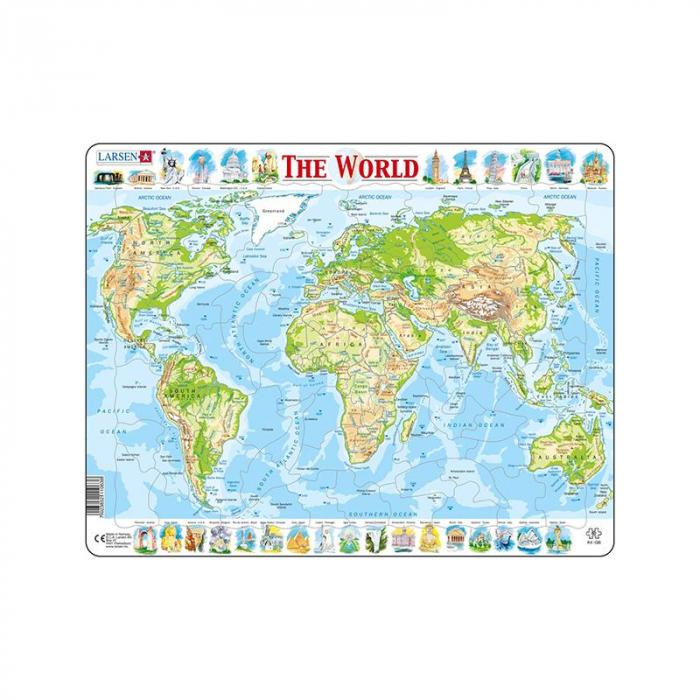 Puzzle maxi Harta fizica a lumii, orientare tip vedere,  8 piese, Larsen [0]