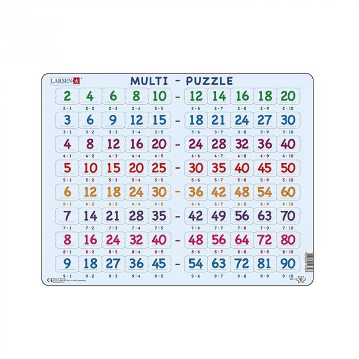 Puzzle maxi Inmultiri cu acelasi numar, orientare tip vedere,  80 de piese, Larsen [0]