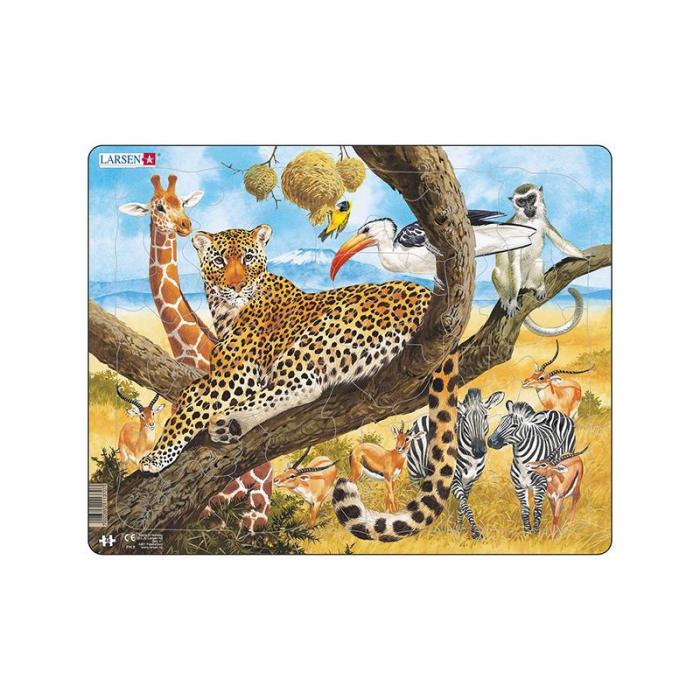 Puzzle maxi Leopard, orientare tip vedere, 48 de piese, Larsen [0]
