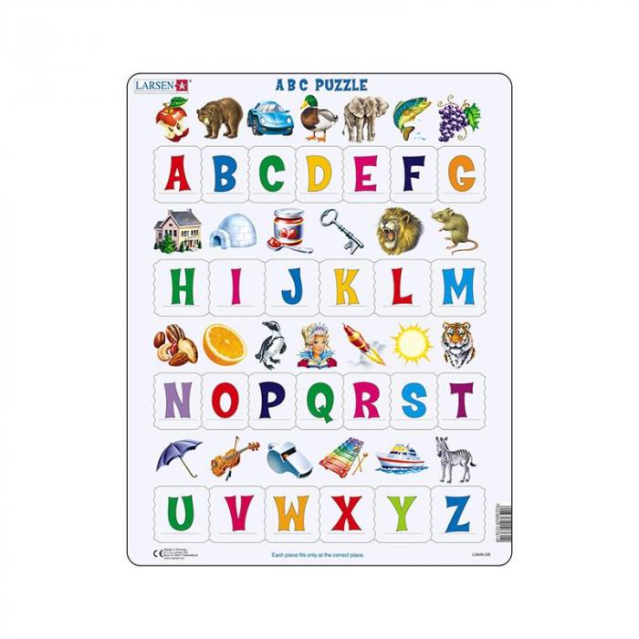 Puzzle maxi Literele mari ale alfabetului cu imagini, orientare tip vedere, 26 de piese, Larsen [0]
