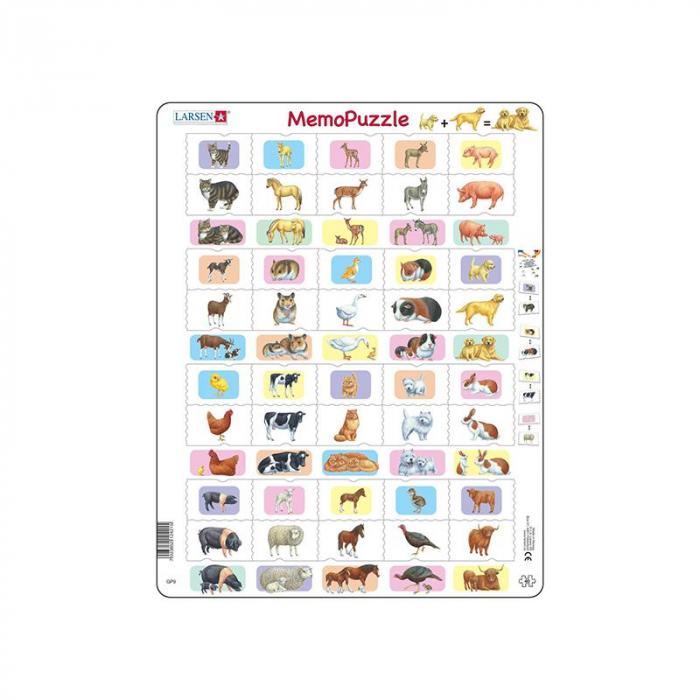 Puzzle maxi Memo cu animale si copiii acestora, 40 de piese, Larsen [0]
