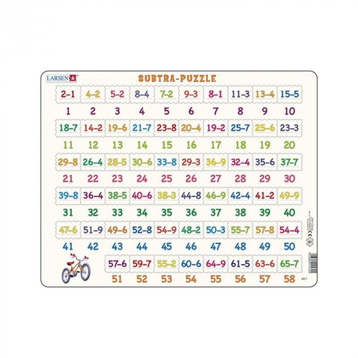 Puzzle maxi Numere intre 1 si 58 si scaderi, orientare tip vedere, 58 de piese, Larsen [0]