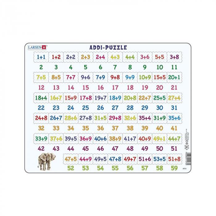 Puzzle maxi Numere intre 1 si 59 si adunari, orientare tip vedere, 58 de piese, Larsen [0]