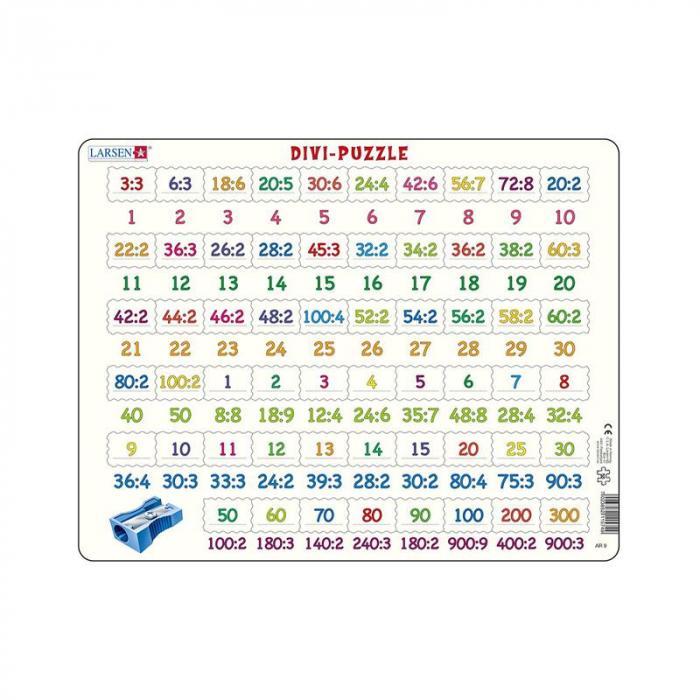 Puzzle maxi Numere intre 1 si 900 si impartiri, orientare tip vedere, 58 de piese, Larsen [0]