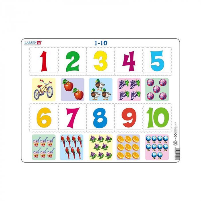 Puzzle maxi Numerele de la 1 la 10 si imagini, orientare tip vedere, 10 de piese, Larsen [0]
