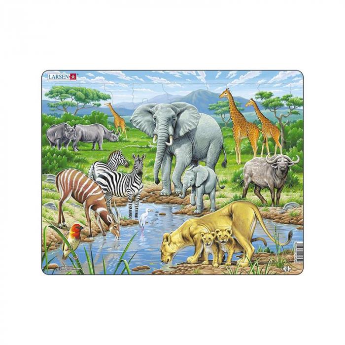Puzzle maxi Savana africana II, orientare tip vedere, 65 de piese, Larsen [0]
