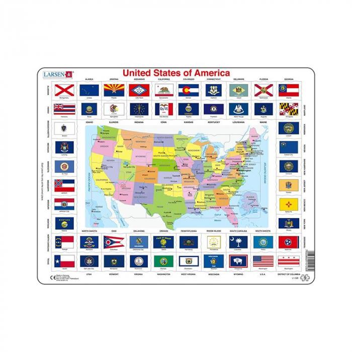 Puzzle maxi Statele Unite ale Americii cu steaguri, orientare tip vedere, 70 de piese, Larsen [0]