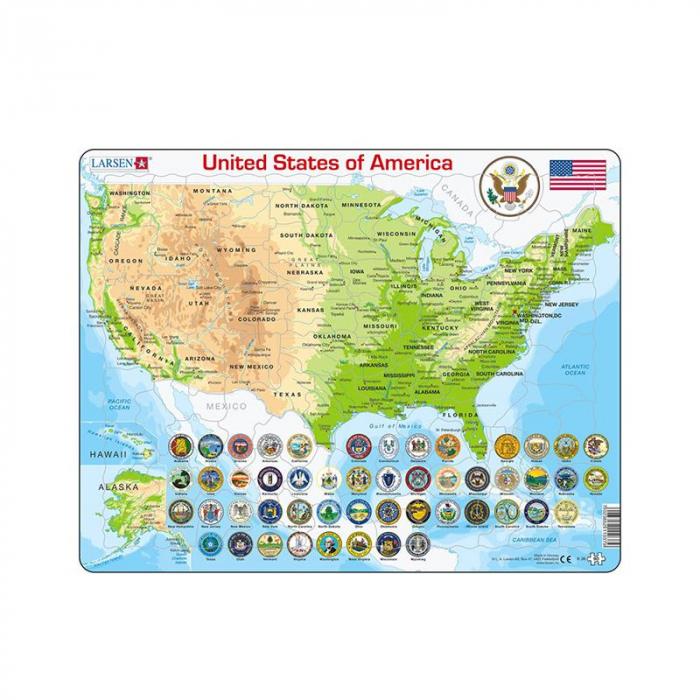 Puzzle maxi Statele Unite ale Americii, orientare tip vedere, 90 de piese, Larsen [0]