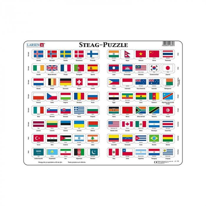 Puzzle maxi Steaguri, orientare tip vedere, 80 de piese, Larsen, romana [0]
