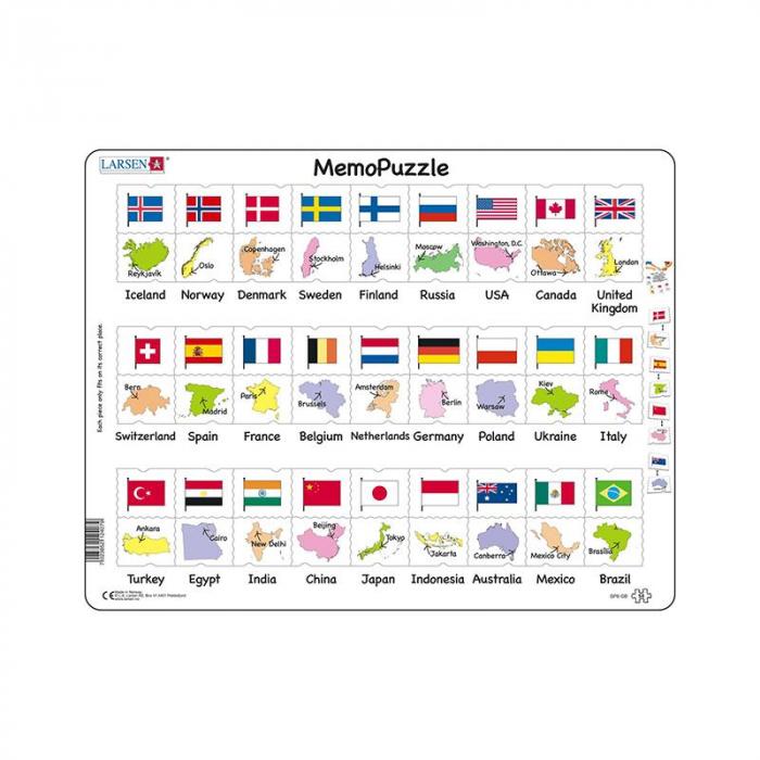 Puzzle maxi Steagurile si capitalele a 27 de tari, orientare tip vedere, 54 de piese, Larsen [0]