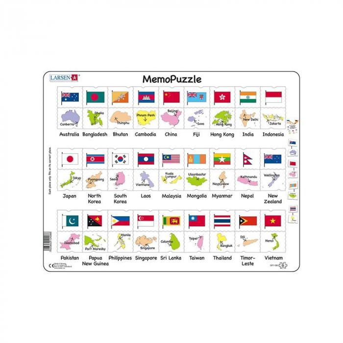 Puzzle maxi Steagurile si capitalele a 27 tarilor din Asia si Pacific, orientare tip vedere, 54 de piese, Larsen [0]