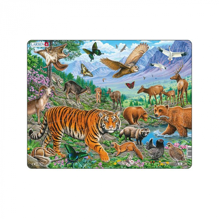 Puzzle maxi Tigrul Amur in Siberia vara, orientare tip vedere, 36 de piese, Larsen [0]