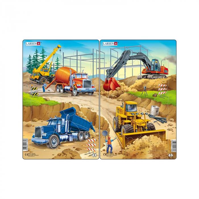 Set 2 Puzzle midi Constructii II, camion, macara, betoniera si excavator, buldozer, orientare tip portret, 20 piese, Larsen [0]