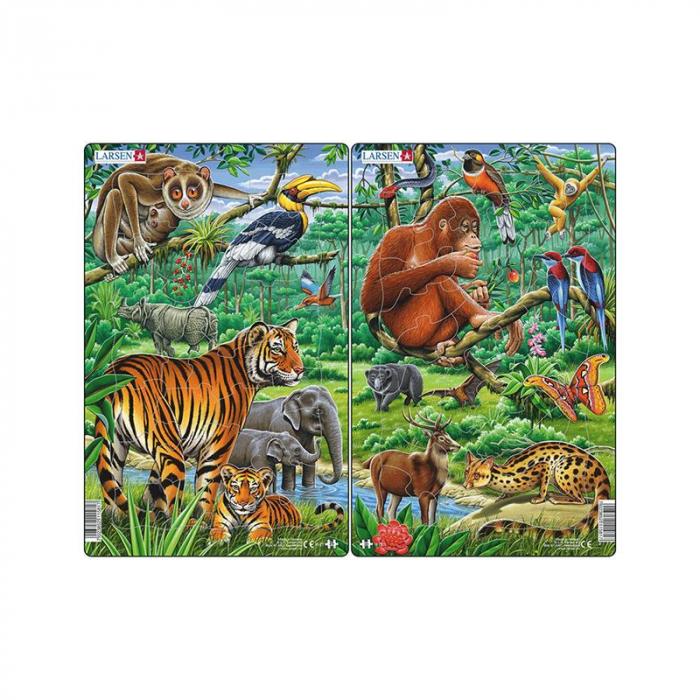 Set 2 Puzzle midi Jungla asiatica cu Maimute, Tigri, orientare tip portret, 30 piese, Larsen [0]