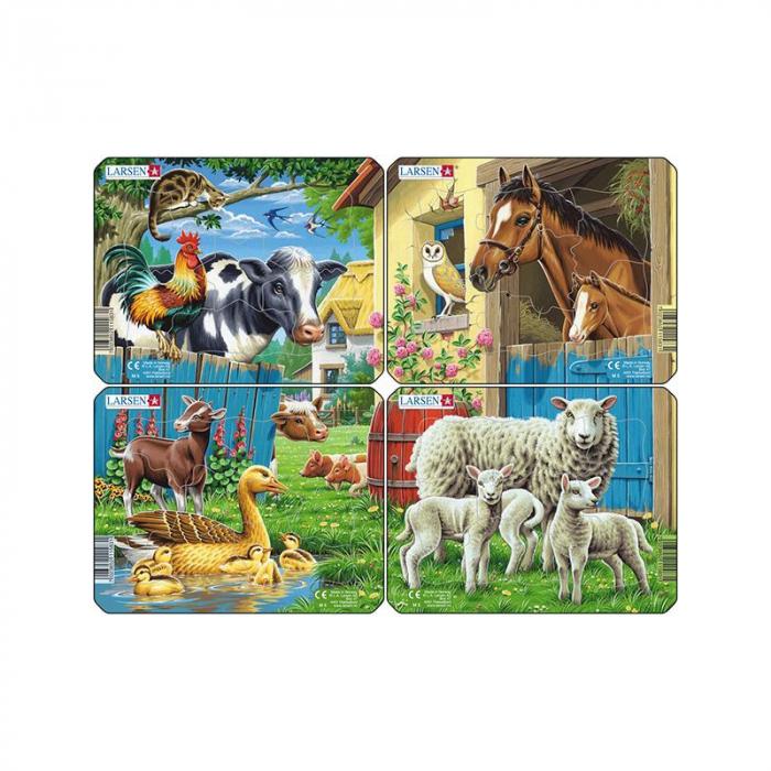 Set 4 Puzzle mini Animale de la ferma cu Oi, Rate, Vaci, Cai, orientare tip vedere, 7 piese, Larsen [0]