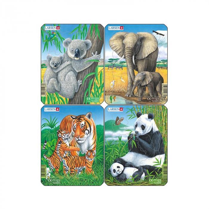Set 4 Puzzle mini Animale exotice cu Elefanti, Koala, Panda, Tigri, orientare tip portret, 8 piese, Larsen [0]