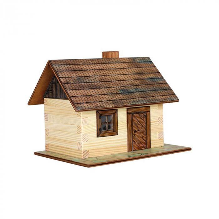 Set constructie arhitectura Cabanuta din busteni, 64 piese din lemn, Walachia [0]