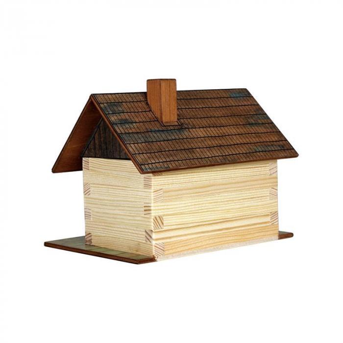 Set constructie arhitectura Cabanuta din busteni, 64 piese din lemn, Walachia [1]