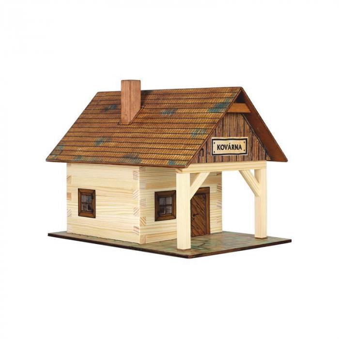 Set constructie arhitectura Fierarie, 86 piese din lemn, Walachia [0]
