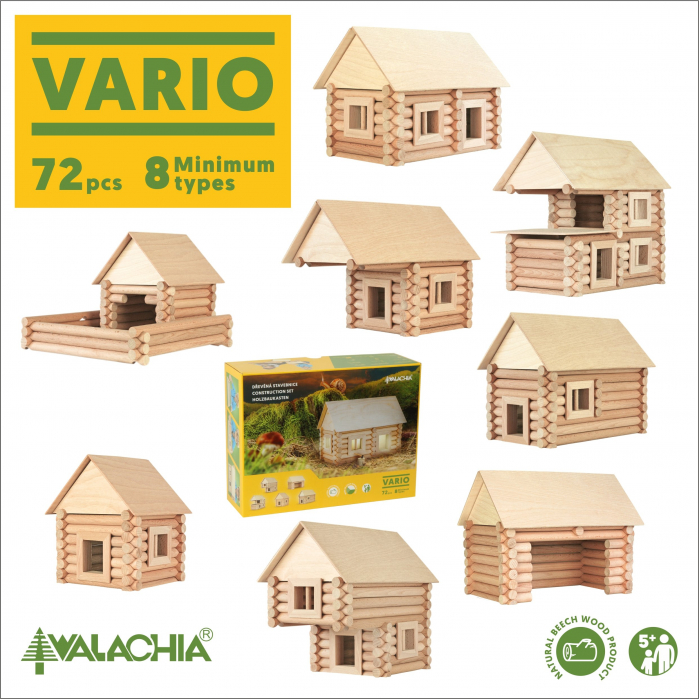 Set constructie arhitectura Vario, 72 piese din lemn, Walachia [5]