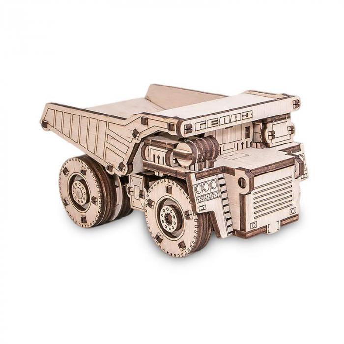 Set constructie cu mecanism Puzzle 3D BELAZ MINI din lemn 105 piese @ EWA [0]