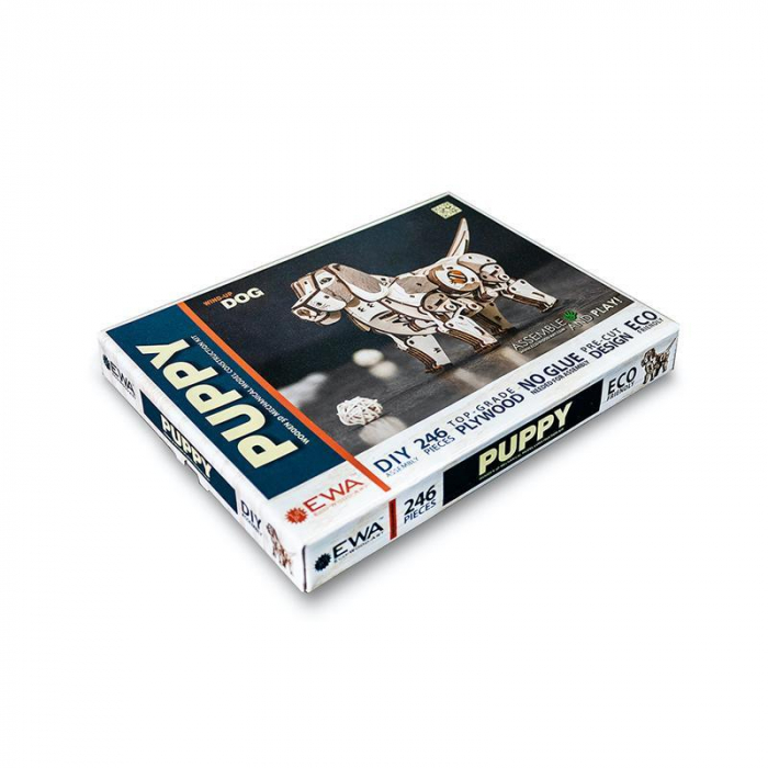 Set constructie cu mecanism Puzzle 3D PUPPY din lemn 246 piese @ EWA [2]