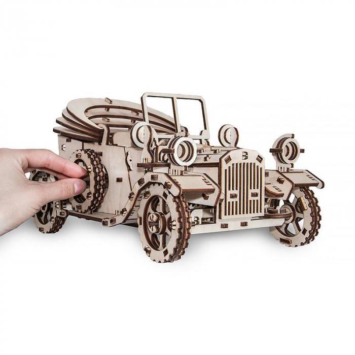 Set constructie cu mecanism Puzzle 3D RETROCAR din lemn 315 piese @ EWA [4]