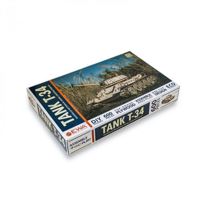Set constructie cu mecanism Puzzle 3D TANK T-34 din lemn cu adeziv 600 piese @ EWA [5]
