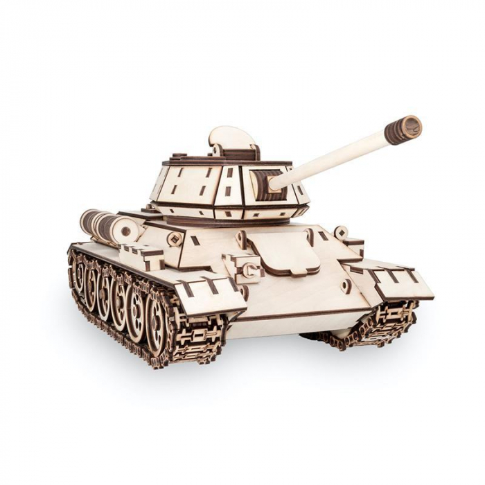Set constructie cu mecanism Puzzle 3D TANK T-34 din lemn cu adeziv 600 piese @ EWA [4]