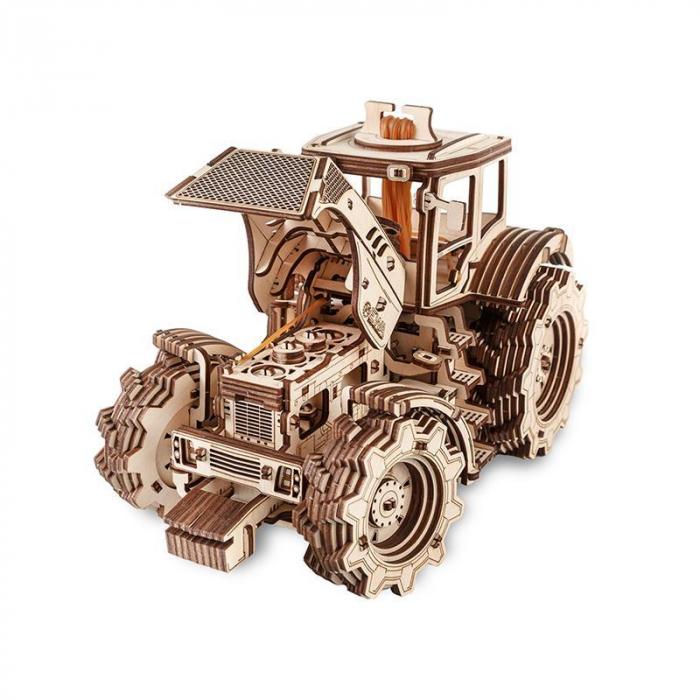 Set constructie cu mecanism Puzzle 3D TRACTOR din lemn 357 piese @ EWA [2]