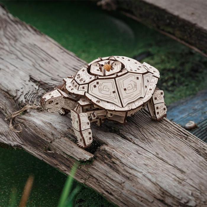Set constructie cu mecanism Puzzle 3D TURTLE din lemn 269 piese @ EWA [3]