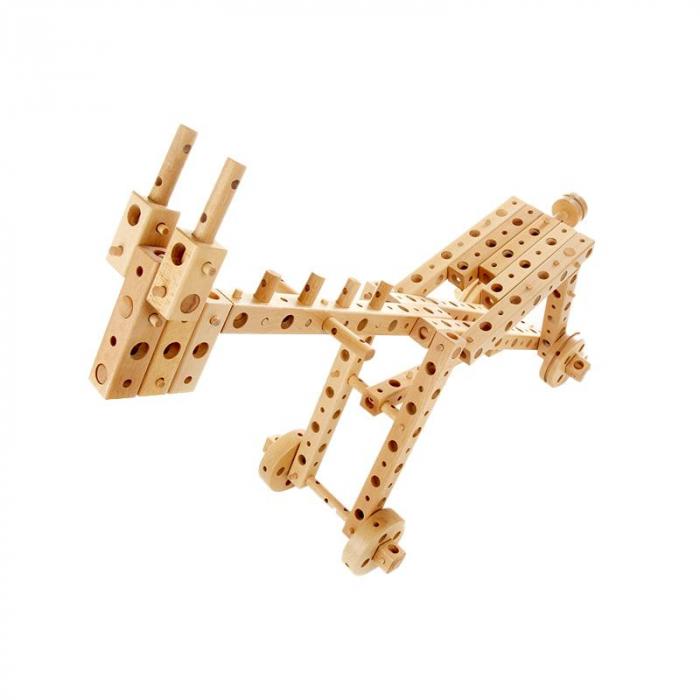 Set constructie mecanica din lemn Polytechnical Large, 300 piese, Pony [3]