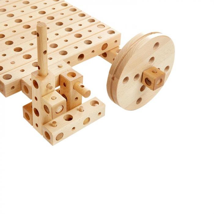 Set constructie mecanica din lemn Polytechnical Large, 300 piese, Pony [5]