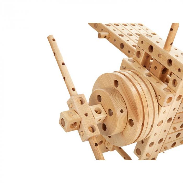 Set constructie mecanica din lemn Polytechnical Large, 300 piese, Pony [2]