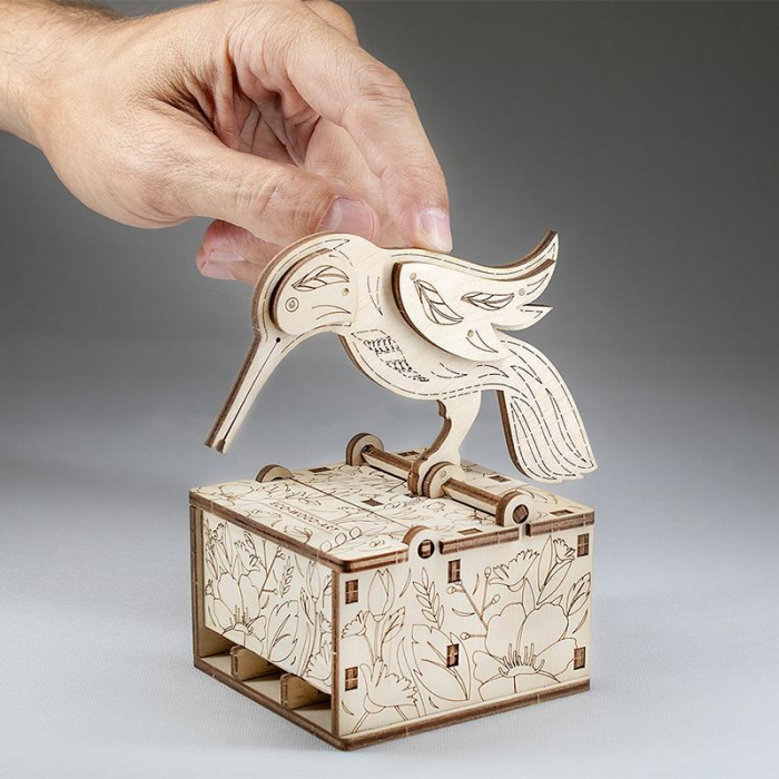 Set constructie mini cu mecanism Puzzle 3D BIRD din lemn 38 piese @ EWA [3]