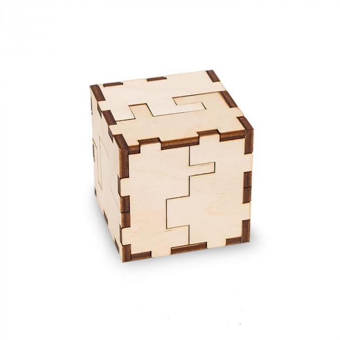 Set constructie mini cu mecanism Puzzle 3D JIGSAW CUBE-3D din lemn 24 piese @ EWA [0]