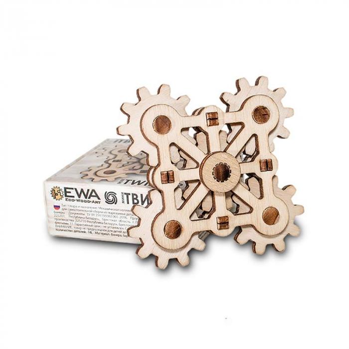 Set constructie mini cu mecanism Puzzle 3D TWISTER MINI din lemn 18 piese @ EWA [3]