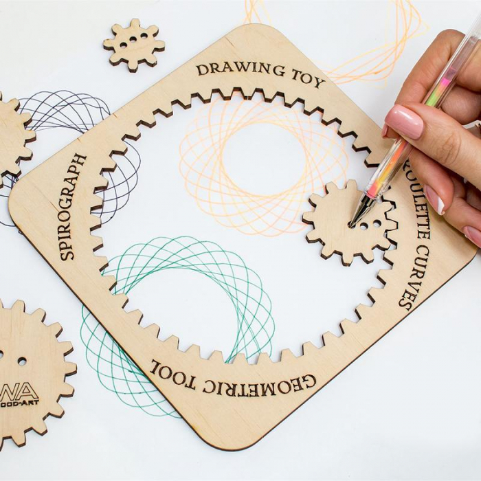 Set constructie mini cu mecanism Puzzle 3D WOODEN SPIROGRAPH din lemn 6 piese @ EWA [2]