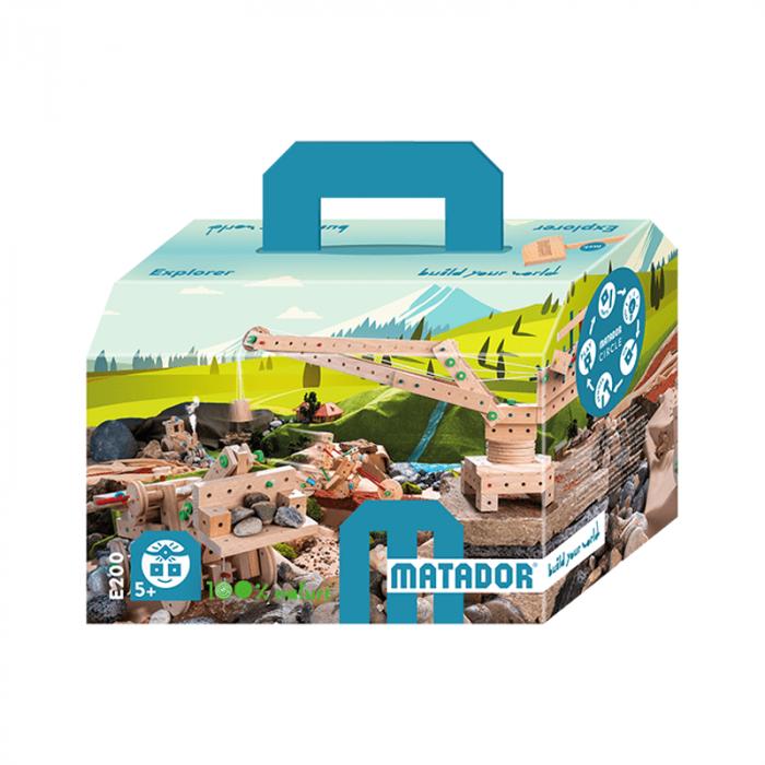 Set cuburi de constructie din lemn Explorer 200, +5 ani, Matador [6]