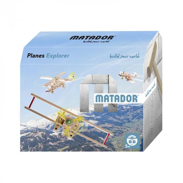 Set cuburi de constructie din lemn Explorer World Planes, +5 ani, Matador [0]
