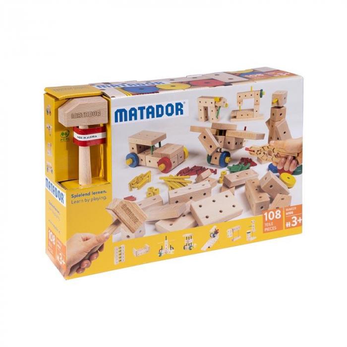 Set cuburi de constructie din lemn Maker 108 piese, +3 ani, Matador [0]