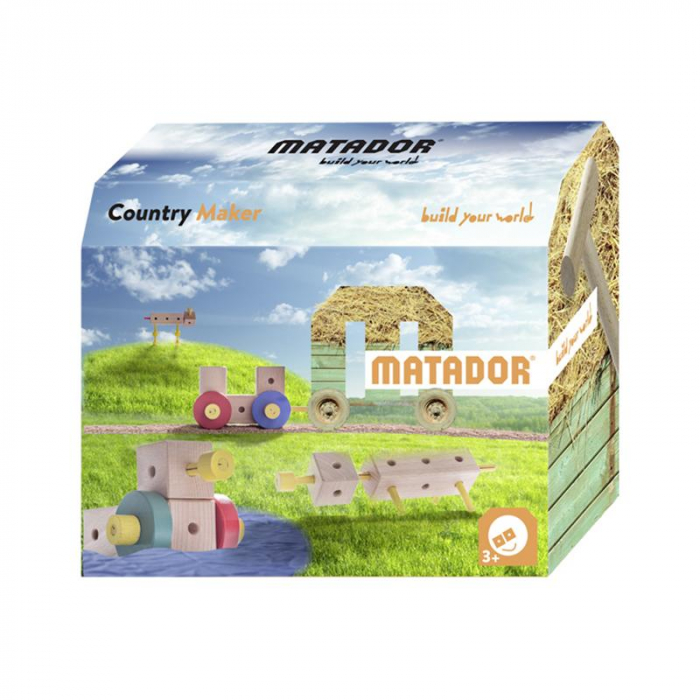 Set cuburi de constructie din lemn Maker World Country, +3 ani, Matador [0]