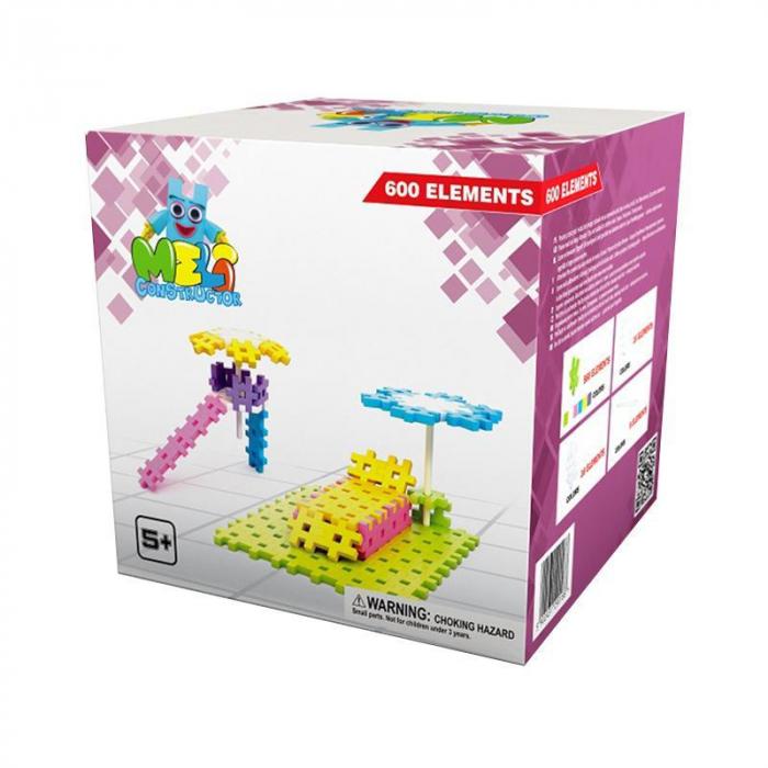 Set de constructie creativa Constructor Pink 600 piese, Meli [1]