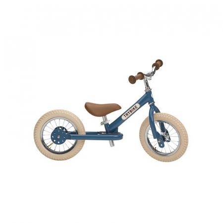 Bicicleta fara pedale vintage 2 in 1 tricicleta copii, albastru, Trybike [0]